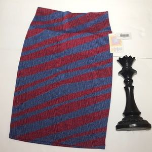 LULAROE CASSIE Blue and Red Pencil Skirt